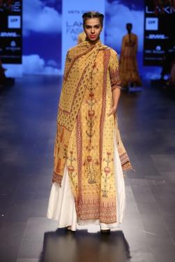 27 Yellow printed long kurta with dupatta | Anita Dongre Love Notes | Lakme Fashion Week 2016