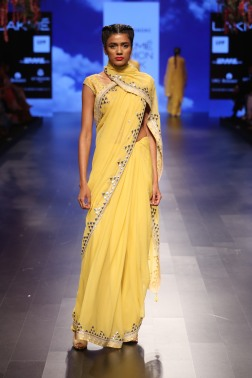 29 Candy yellow sari with gota patti border | Anita Dongre Love Notes | Lakme Fashion Week 2016