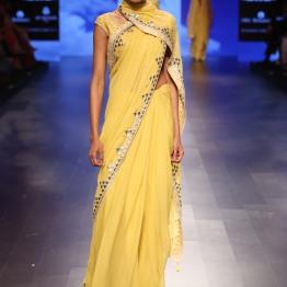 29 Candy yellow sari with gota patti border | Anita Dongre Love Notes | Lakme Fashion Week 2016