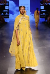 30 Candy yellow long kurta with gota patti embroidery   Anita Dongre Love Notes   Lakme Fashion Week 2016