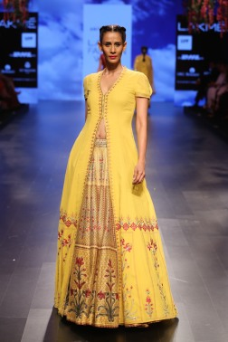 31 Yellow jacket with printed lehenga | Anita Dongre Love Notes | Lakme Fashion Week 2016