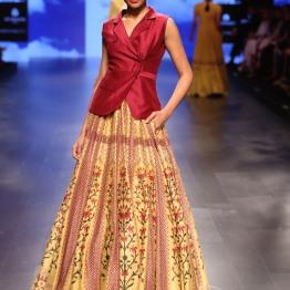 32 Yellow and red bougainvillea print lehenga | Anita Dongre Love Notes | Lakme Fashion Week 2016