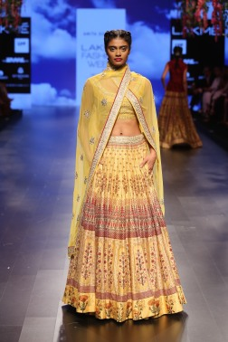33 Yellow bougainvillea print lehenga | Anita Dongre Love Notes | Lakme Fashion Week 2016