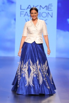 34 Sonakshi Sinha show stopper in blue embroidered lehenga with white gota patti jacket style blouse   Anita Dongre Love Notes   Lakme Fashion Week 2016