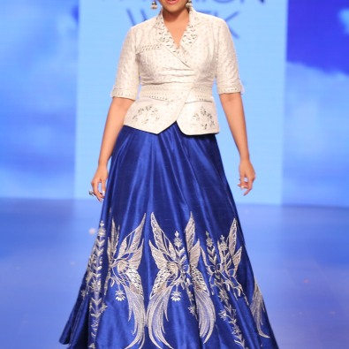 34 Sonakshi Sinha show stopper in blue embroidered lehenga with white gota patti jacket style blouse | Anita Dongre Love Notes | Lakme Fashion Week 2016