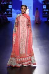 5 Blue & shades of red floral print lehenga with long kurta   Anita Dongre Love Notes   Lakme Fashion Week 2016