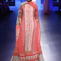5 Blue & shades of red floral print lehenga with long kurta | Anita Dongre Love Notes | Lakme Fashion Week 2016