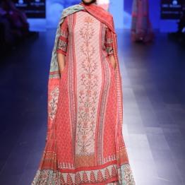 5 Blue & shades of red floral print lehenga with long kurta | Anita Dongre Love Notes | Lakme Fashion Week 2016