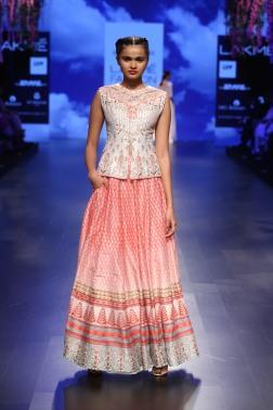 7 Ivory & red print lehenga with gota patti jacket blouse | Anita Dongre Love Notes | Lakme Fashion Week 2016