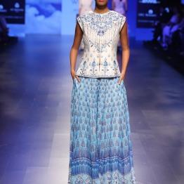 8 Blue print lehenga with gota patti blouse | Anita Dongre Love Notes | Lakme Fashion Week 2016