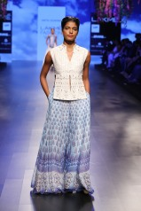 9 Blue print lehenga with gota patti slit blouse   Anita Dongre Love Notes   Lakme Fashion Week 2016