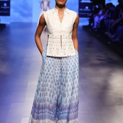 9 Blue print lehenga with gota patti slit blouse | Anita Dongre Love Notes | Lakme Fashion Week 2016