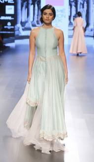 Assymetrical pale blue kurta with straight cut pants by Anushree Reddy at Lakme Fashion Week Summer Resort 2016