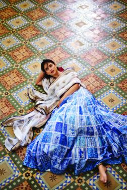 Blue patchwork lehenga with gota patti embroidered ivory choli and bordered net dupatta - Anita Dongre - Love Notes - Spring Summer Collection 2016