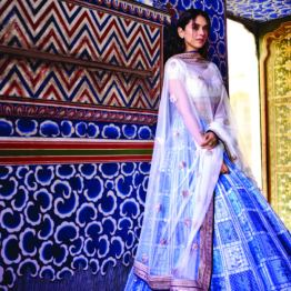 Blue patchwork lehenga with traditional gota patti embroidered ivory choli and bordered net dupatta 1 - Anita Dongre - Love Notes - Spring Summer Collection 2016