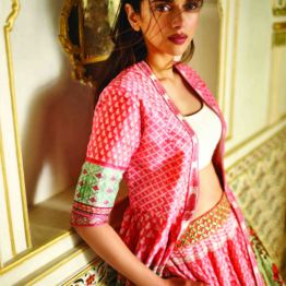 Blush pink floral digital printed lehenga with a chanderi silk jacket and a solid ivory blouse 2 - Anita Dongre - Love Notes - Spring Summer Collection 2016
