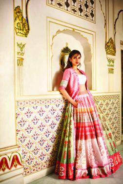 Blush pink floral digital printed lehenga with a chanderi silk jacket and a solid ivory blouse - Anita Dongre - Love Notes - Spring Summer Collection 2016