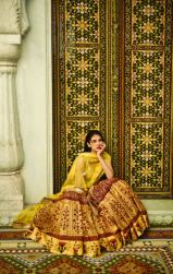 Floral digital printed lehenga with a yellow raw silk choli and a gota patti detailed dupatta 1 - Anita Dongre - Love Notes - Spring Summer Collection 2016