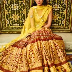 Floral digital printed lehenga with a yellow raw silk choli and a gota patti detailed dupatta - Anita Dongre - Love Notes - Spring Summer Collection 2016