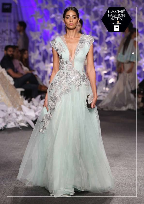 Gown - Manish Malhotra - Powder blue tulle gown with silver embroidery - Lakme Fashion Week Summer-Resort 2016