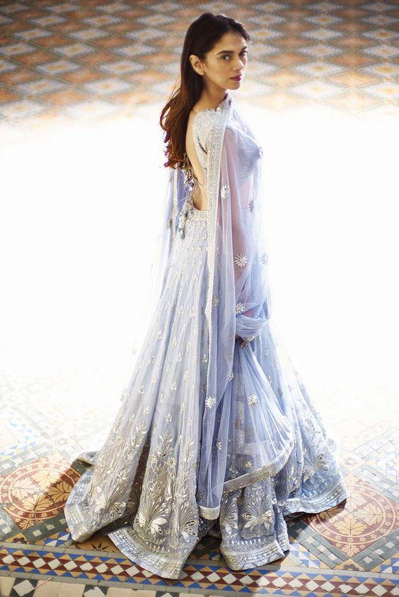 Ice blue Mahtaab lehenga choli and dupatta with floral embroidery 1 - Anita Dongre - Love Notes - Spring Summer collection 2016