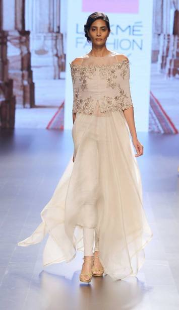 Ivory anarkali by Anushree Reddy at Lakme Fashion Week Summer Resort 2016