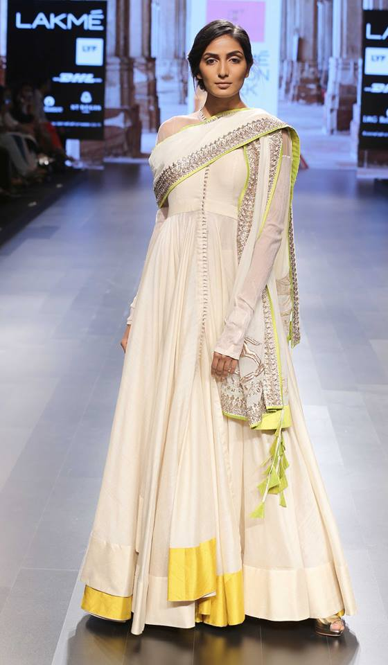 Ivory anarkali with hints of sunshine yellow and silver by Anushree Reddy at Lakme Fashion Week Summer Resort 2016