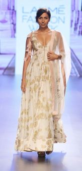 Ivory and gold printed front open style anarkali with pastel pink dupatta by Anushree Reddy at Lakme Fashion Week Summer Resort 2016