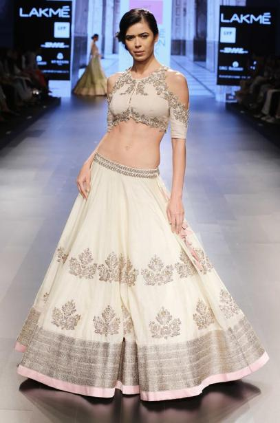 Ivory lehenga with silver embroidery and pastel pink border by Anushree Reddy 2 at Lakme Fashion Week Summer Resort 2016