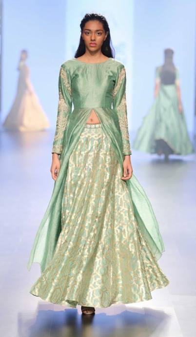 Jacket anarkali - SVA Couture - Teal green kurta with lehenga - Lakme Fashion Week Summer-Resort 2016