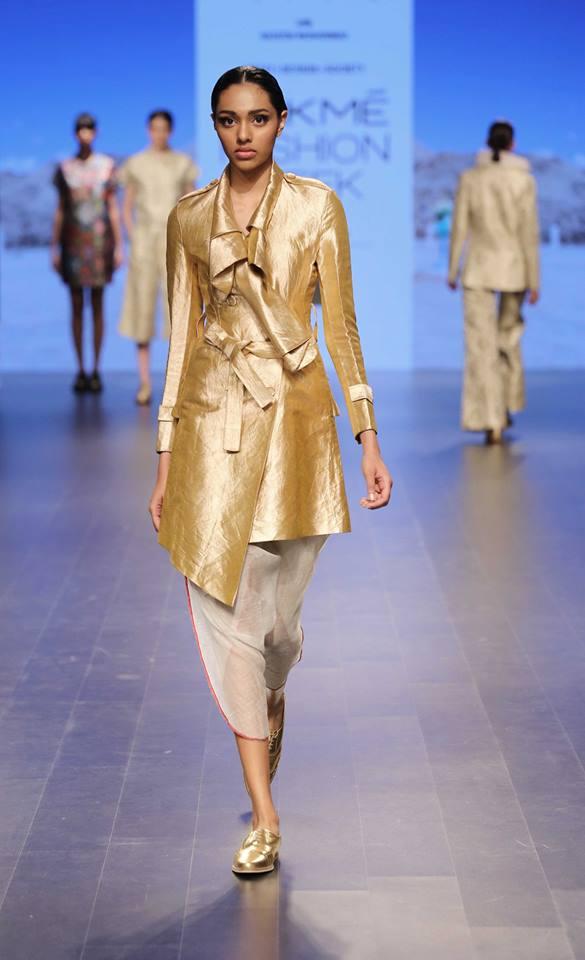 Jacket - Rajesh Pratap Singh - Gold jacket kurta with dhoti pants - Lakme Fashion Week Summer-Resort 2016