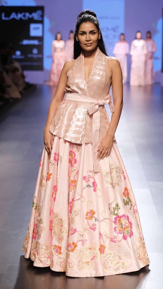 Lehenga - Neeta Lulla - Blush pink top with floral lehenga - Lakme Fashion Week Summer-Resort 2016