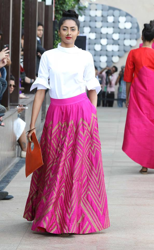 Lehenga - Payal Khandwala - Hot pink and gold chevron skirt with white shirt - Lakme Fashion Week Summer-Resort 2016