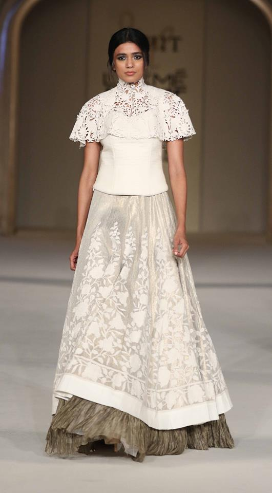 Lehenga - Rohit Bal - Ivory threadwork lehenga with laser cut short cape - Lakme Fashion Week Summer-Resort 2016