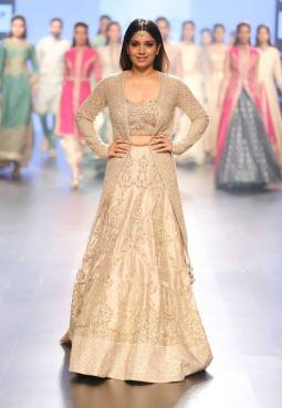 Lehenga - SVA Couture - Beige bridal lehenga with jacket - Lakme Fashion Week Summer-Resort 2016