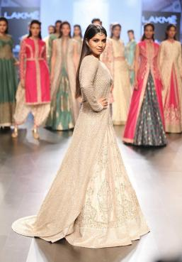 Lehenga - SVA Couture - Beige bridal lehenga with jacket - side - Lakme Fashion Week Summer-Resort 2016.jpg