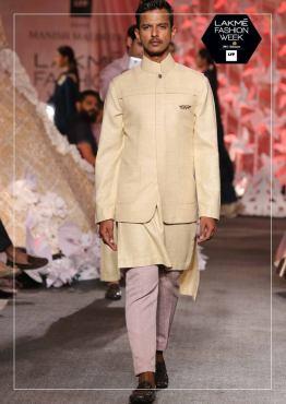 Men's Wear - Manish Malhotra - Beige nehru jacket with kurta and pajama - Lakme Fashion Week Summer-Resort 2016