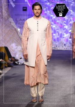 Men's Wear - Manish Malhotra - White jacket with peach kurta and pants - Lakme Fashion Week Summer-Resort 2016