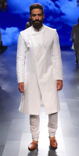 Menswear White achkan style kurta with churidar | Anita Dongre Love Notes | Lakme Fashion Week 2016