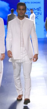 Menswear White chinese collar shirt with bandhgala and pants   Anita Dongre Love Notes   Lakme Fashion Week 2016