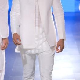 Menswear White chinese collar shirt with bandhgala and pants | Anita Dongre Love Notes | Lakme Fashion Week 2016