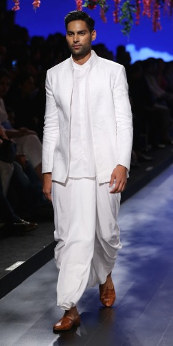 Menswear White chinese collar shirt with open jacket and dhoti | Anita Dongre Love Notes | Lakme Fashion Week 2016