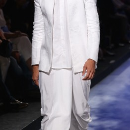 Menswear White chinese collar shirt with open jacket and dhoti | Anita Dongre Love Notes | Lakme Fashion Week 2016