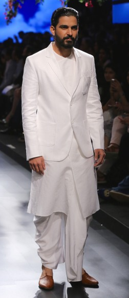 Menswear White kurta with buttoned up jacket and dhoti | Anita Dongre Love Notes | Lakme Fashion Week 2016