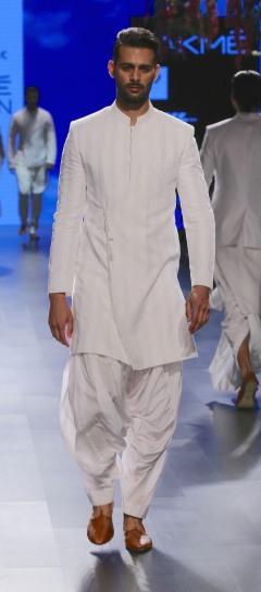 Menswear White self striped achkan style sherwani with dhoti pants   Anita Dongre Love Notes   Lakme Fashion Week 2016