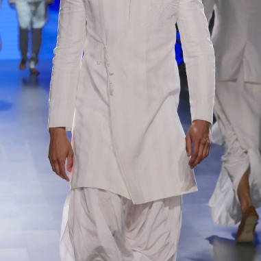 Menswear White self striped achkan style sherwani with dhoti pants | Anita Dongre Love Notes | Lakme Fashion Week 2016