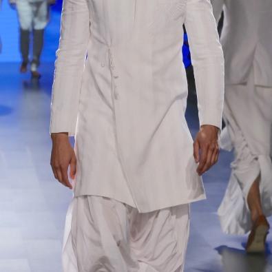Menswear White self striped achkan style sherwani with dhoti pants | Anita Dongre Love Notes | Lakme Fashion Week 2016