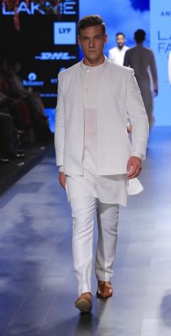 Menswear White textured bandhgala with short kurta and pants   Anita Dongre Love Notes   Lakme Fashion Week 2016