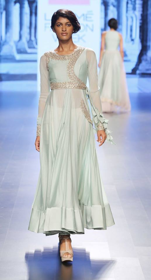 pale blue angrakha with silver embroidery on yoke by