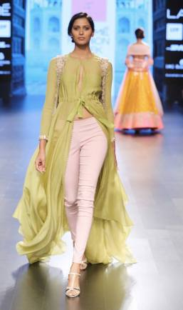 Pastel green front open anarkali with fitted pants by Anushree Reddy at Lakme Fashion Week Summer Resort 2016